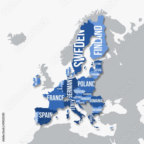 Vector map of European Union. Brexit. European Union without Uni Poster