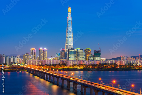 Foto op Canvas Seoel Seoul City Skyline at Han river Seoul, South korea