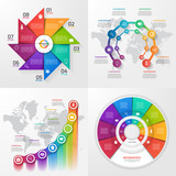 Set of four vector infographic templates. Business, education, industry, science concept with 8 values, options, parts, steps, processes.