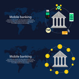 Mobile banking concept. Flat design, vector illustration.