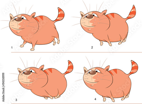 Papiers peints Chambre bébé Cartoon Character Cute Cat for a Computer Game. Storyboard
