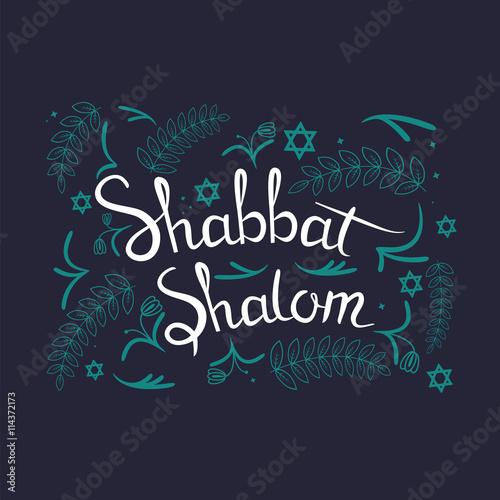 "Plakát Hand written lettering with text ""Shabbat shalom"""