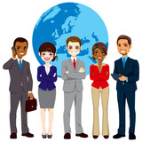 Global multi ethnic team of successful businesspeople standing with confident look in front world earth globe background