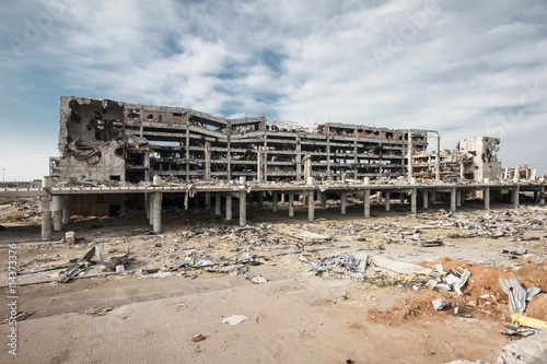 Poster Wide Angle view of donetsk airport ruins after massive artillery shelling
