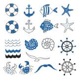 Sea set. Collection of marine symbols. Hand drawn vector illustration.
