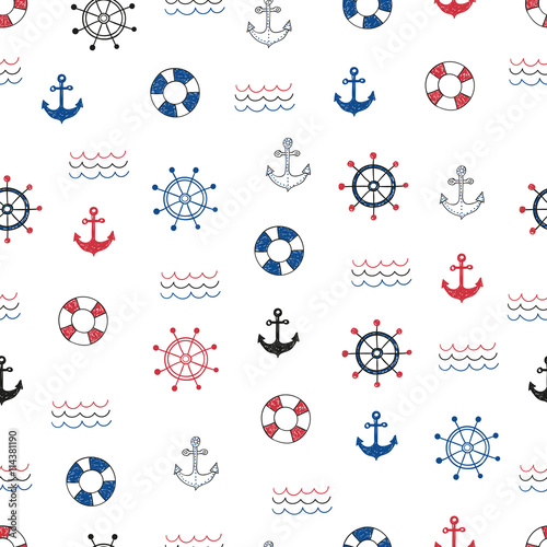 Cotton fabric Nautical seamless pattern. Vector background with doodle marine symbols.