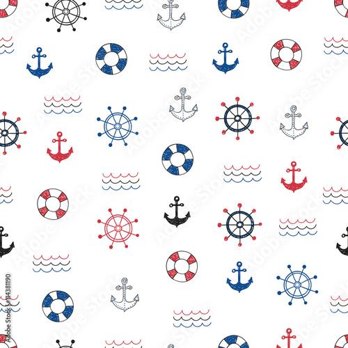 Materiał do szycia Nautical seamless pattern. Vector background with doodle marine symbols.