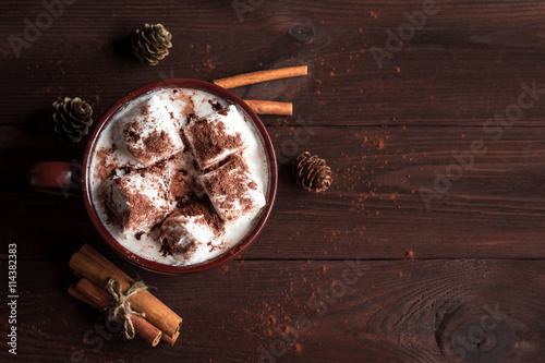 Foto op Canvas Chocolade Hot chocolate in a mug, marshmallows, cinnamon sticks and fir cones, top view, flat lay