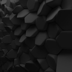 Black abstract squares backdrop. 3d rendering geometric polygons