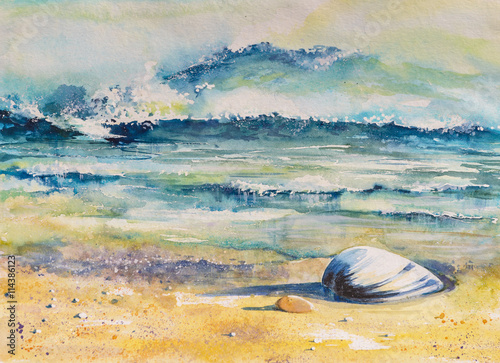 Fototapeta Watercolor illustration of a sea shell on a beach with sea in background.