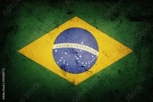 Plakat Grunge Brazil flag