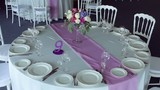 decor design round table purple lilac stripe in the middle