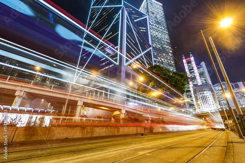 Foto op Aluminium Las Vegas Modern city at night, Hong Kong, China.