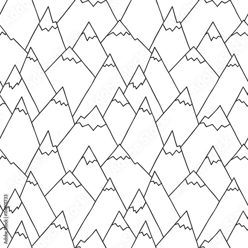 Nature Seamless Pattern in Black and White. Repetitive Texture with Hand Drawn Mountains. Vector Baby Background. Ready Pattern Swatches Included in File - 114401733