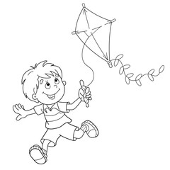 Coloring Page Outline Of cartoon boy running with a kite