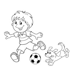 Coloring Page Outline Of cartoon boy with soccer ball with dog.
