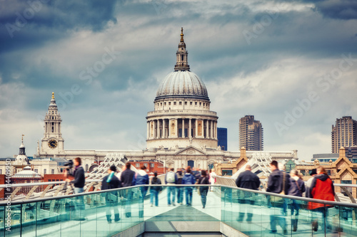 Zdjęcia na płótnie, fototapety, obrazy : Millennium bridge and st. Paul cathedral in London, UK