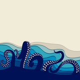 Underwater background with octopus tentacles. Vector illustration with space for text.