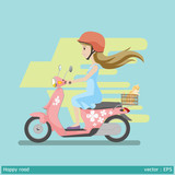 safety first made happy road graphic vector illustration woman and helmet  are happy on motocycle