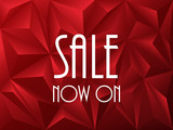 """SALE NOW ON"" on red vector polygon background"