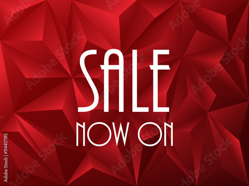 """""""SALE NOW ON"""" on red vector polygon background"""