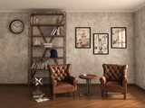 Home library with armchairs. Clean and modern decoration. 3d ill