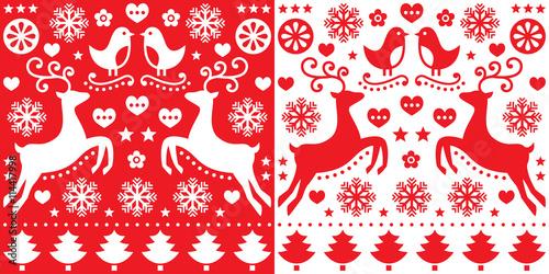 Fototapeta Christmas red greetings card pattern with reindeer - folk art style