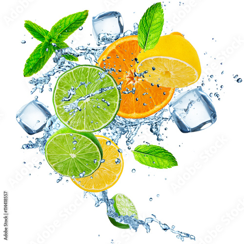 Fresh fruit in water splash over white - 114418557