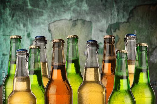 Cold wet beer bottles Poster