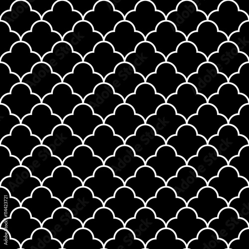 Black and white arabic traditional geometric quatrefoil seamless pattern, vector - 114423721