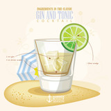 Vector illustration of popular alcoholic cocktail. Gin and tonic club alcohol shot.