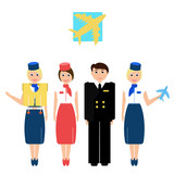 vector illustration of an airplane captain and stewardess