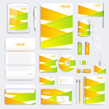 Colorful geometric set of vector corporate identity template. Modern business stationery mock-up. Branding design with green and yellow lines.