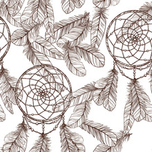 Seamless Monochrome Pattern With Dreamcatcher And Feathers