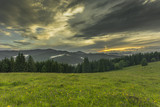 Evening time in the mountains. Dramatic scenery. Carpathian, Ukraine, Europe. Beauty world. Beautiful valley