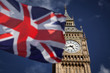 British union jack flag and Big Ben Clock Tower at city of westminster in the background - UK votes to leave the EU