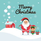 Santa and elf cartoon icon. Merry Christmas. Vector graphic