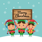 Elf cartoon icon. Merry Christmas. Vector graphic