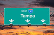 Tampa Interstate 4 West Highway Sign with Sunrise Sky