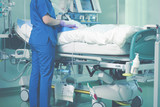 Medical nurse cares about patient
