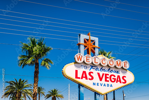 The world famous Welcome to Las Vegas sign in early morning light. The Strip, Las Vegas, USA