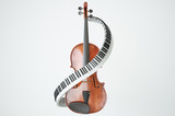 Aged violin and piaone keys concept. 3D rendering - 114456128