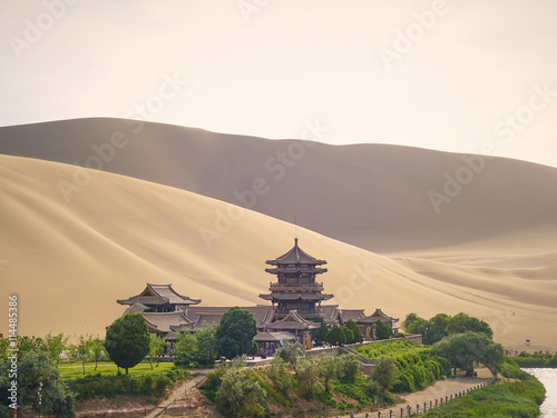 Poster Crescent Moon Lake in Dunhuang on the Silk Road (Gansu Province, China)