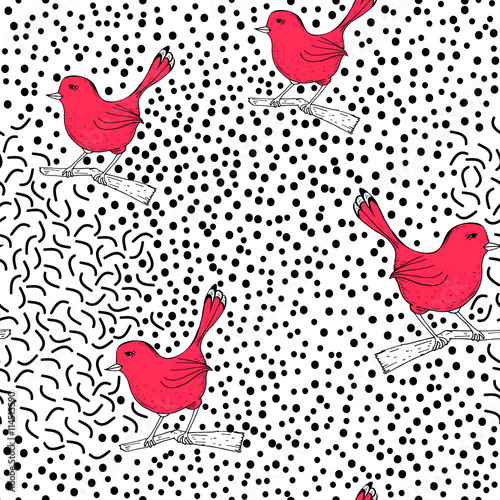 Art seamless pattern with black dots and birds. Polka trendy hand drawn texture. Vector Illustration - 114513590