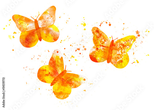 Three golden yellow butterflies, composed of splashes of paint