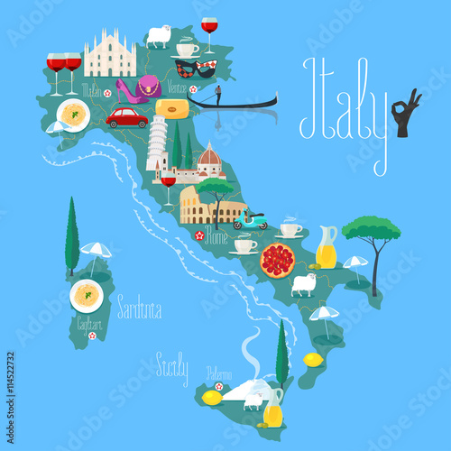 Poster Map of Italy vector illustration, design