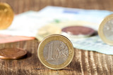 Detail of one euro coin