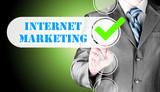 business man pressing checkbox  internet marketing
