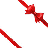 red silky bow ribbon on white background. holidays gift symbol - 114526513