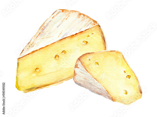 Cheese slices. Watercolor picture Poster